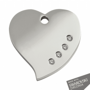 Diamante Heart ID Dog Tag